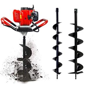 """ECO HOUSE 52cc 2.4HP Gas Powered Post Hole Digger with Two Earth Auger Drill Bit 4"""" & 6"""""""
