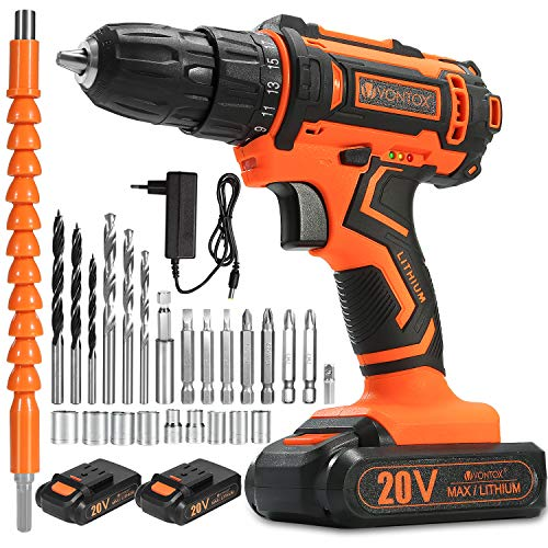 V VONTOX Cordless Drill/20V MAX Power Drill, 370 In-lb, 2x2000mAh Batteries, 1H Fast Charger, 3/8 inch Chuck, 2 Variable Speed, 18+1Torque Setting, with 24pcs Drill Bits Set