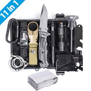 Airand Emergency Survival Kit, 11-in-1 Survival Gear, Birthday Gifts for Men Dad Him, Outdoor Survival Tool with Bracelet, Fire Starter, Tactical Knife Pen Small Flashlight - Ideal for Camping, Hiking