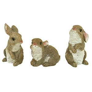 Design Toscano QM92008 The Bunny Den Rabbits Garden Animal Statues, 5 Inch, Set of Three, Multicolored