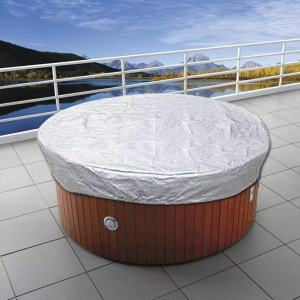rowna Amasstu Round Hot Tub Cover, Outdoor Heavy Duty Water Resistant 190T Polyester Canvas Complex Fabric SPA Bathtub Dust Cover Regular