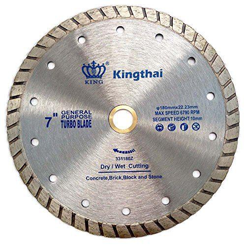 """Kingthai 7 Inch Concrete Turbo Rim Diamond Blade for Masonry Stone, 7/8""""-5/8"""" Arbor"""