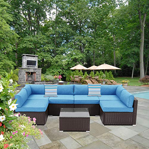 Outdoor Sectional 7-Piece Espresso Brown Wicker Sofa Patio Furniture Set w 2 Stripe Pillows, Denim Blue Cushions, Tempered Glass Table, Weatherproof Cover for Backyard