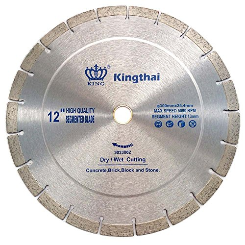 Kingthai 12 Inch Wet Dry Segmented Cutting Concrete Diamond Saw Blade for Masonry with 1-20mm Arbor