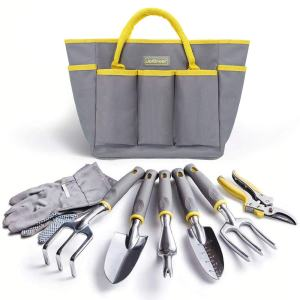 Jardineer Garden Tool Set, 8PCS Garden Tool Kit with Garden Tools, Garden Gloves and Gardening Tools Bag, Perfect Gardening Tool Set Gifts for Woman and Men