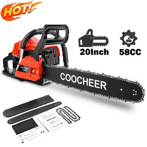 attempting 58CC Gas Engine 20 Inch Guide Board Chainsaw 2 Stroke Gasoline Powered Handheld Chain Saw (with Tool Kit) (Orange)