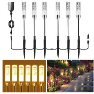 B-right Path Lights Outdoor, 6 Pcs LED Pathway Lights Acrylic Bubble 12V Low Voltage Landscape Lighting Plug in Extendable Waterproof Garden Lights 360 Lumens for Patio, Yard, Lawn, 2700K