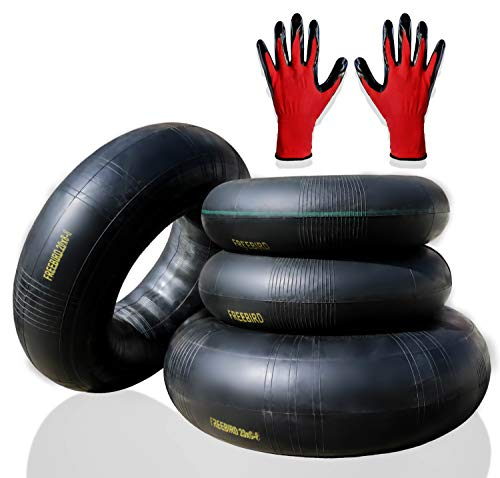 "FreeBird 4 Pack Replacement Inner Tubes for Lawn Mower Tires 2 x 15x6.00-6"" for Front and 2 x 20x8.00-8"" or 20x10.00-8"" for Rear with TR-13 Valve Stem Complete with Gloves Set"