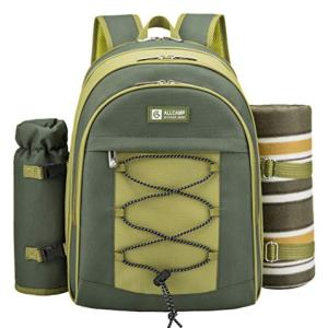 ALLCAMP 2 Person Blue Picnic Backpack Hamper with Cooler Compartment Includes Tableware & Fleece Blanket (Green)