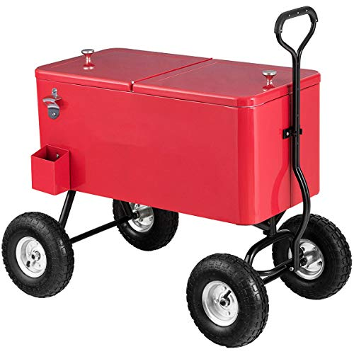 """Giantex 80QT Wagon Cooler Rolling Cooler Ice, with Long Handle and 10"""" All Terrain Wheels, Portable Rolling Bar Party Cold Drink Beverage Chest Patio Outdoor Cooling Cart, Red"""