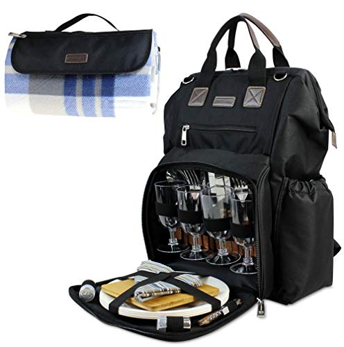 """Fish Mouth Picnic Backpack for 4, Insulated Cooler Bag with Wide Open Large Capacity, Free Waterproof Beach Blanket, 9"""" Plates, Wooden Handle Cutlery Set for Outdoor Camping Best Mother Day Gift"""