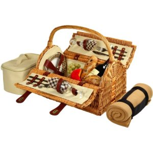 Picnic at Ascot Sussex Willow Picnic Basket with Service for 2 with Blanket - London Plaid