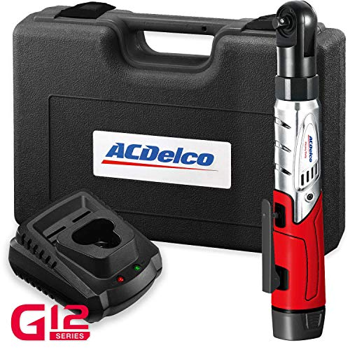 "ACDelco Cordless 3/8"" Ratchet Wrench 12V Angled 55 ft-lb Tool Set with 1 Batteries - Regular Charger - Carrying Case ,ARW1208"