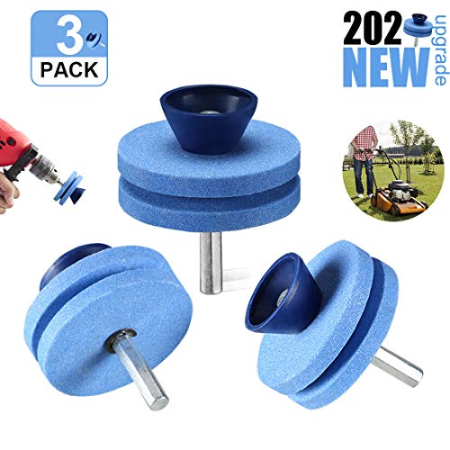 【2020 New】 Lawnmower Blade Sharpener Drill Attachment, Blunt Blade Sharpener, Blunt Blades Drill Attachment Lawn Mower Sharpener lawnmower Blade Kit for Any Power Drill Hand Drill-(3 Pack Blue)