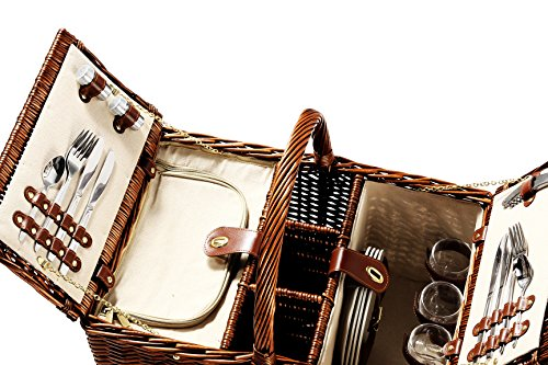 Delux Double Lid Classic Wicker Picnic Basket Package deal Dimensions: 21.zero x 14.5 x 10.three inches