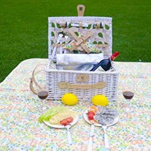 IceGo Romantic Wicker Picnic Basket for 2 Persons, Special White IceGo Romantic Wicker Picnic Basket for 2 Persons, Special White Washed Willow Hamper Set with Big Insulated Cooler Compartment, Free Blanket and Cutlery Service Kit for Outdoor Party or Camping.