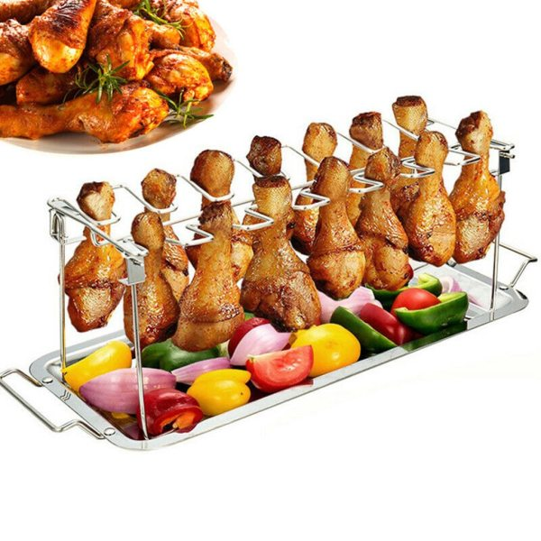 14 Slot Stainless Steel Chicken Wing Leg Drumstick Rack Oven
