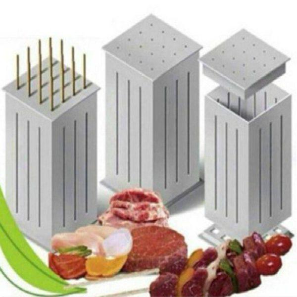BBQ Meat Skewer Tool Box Kebab Maker Barbecue Fast Maker Meat