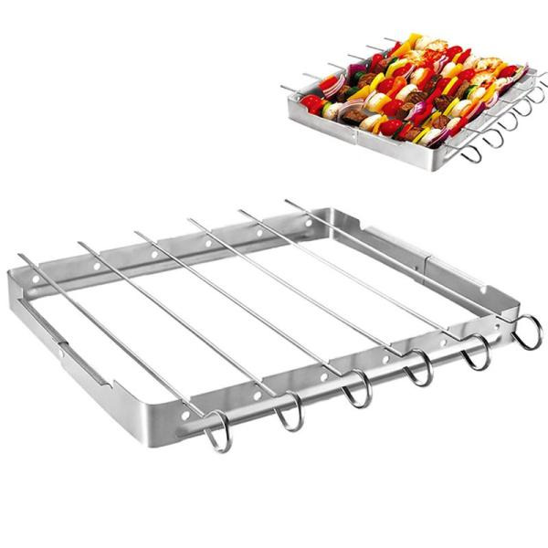Heat-Resistant Skewer Rack Set Non-Stick Stainless Steel Barbecue