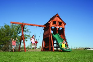 fun shack, cabin, rock wall, picnic table, wooden swing set, swing set, swings, slide, swing set for kids, kids, children, play, playground, playset, sets, accessories, backyard swing set