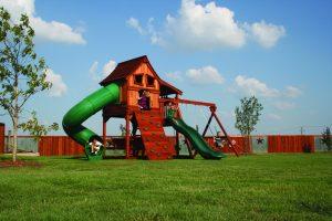 maverick, cabin, rock wall, twister slide, picnic table, wooden swing set, swing set, swings, slide, swing set for kids, kids, children, play, playground, playset, sets, accessories, backyard swing set