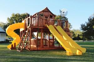 fort ticonderoga, ticonderoga, twister slide, cabin, rock wall, wooden swing set, swing set, swings, slide, swing set for kids, kids, children, play, playground, playset, sets, accessories, backyard swing set