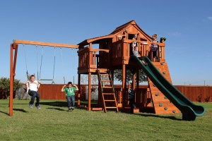 fort stockton, cabin, rock wall, wooden swing set, swing set, swings, slide, swing set for kids, kids, children, play, playground, playset, sets, accessories, backyard swing set