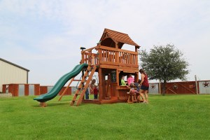 maverick, cabin, lemonade, wooden swing set, swing set, swings, slide, swing set for kids, kids, children, play, playground, playset, sets, accessories, backyard swing set