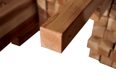 SAFETY feature routered edges on our redwood lumber.
