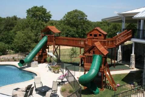 financing, swing set, playset, wooden swing set, slides, bridges, monkey bars