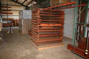 Redwood playset components being prepared to ship at Justin playground factory warehouse.