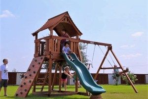 maverick, rock wall, wooden swing set, swing set, swings, slide, swing set for kids, kids, children, play, playground, playset, sets, accessories, backyard swing set