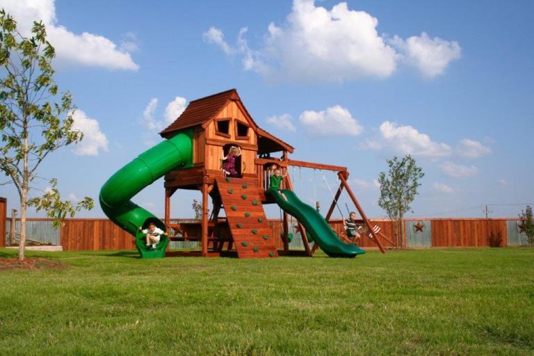maverick, swing set, upper cabin, slide, twister slide, rockwall, picnic table, playset, backyard swing set, swings