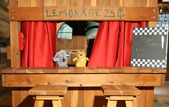 puppet show, children, backyrad playset, fun, lion, monkey, bear, lemonade, imaginations, backyard playset