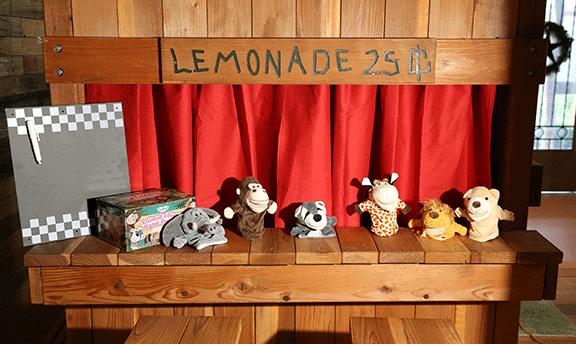 puppet show, fun accessories, lemonade stand, stage, children, backyard, Justin, Fort Worth, redwood playset
