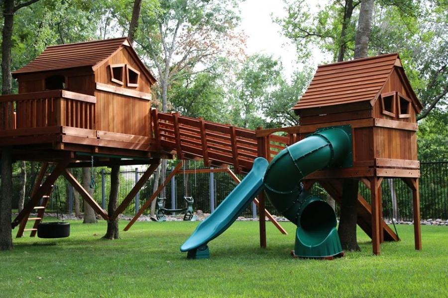 outdoor bridge, spiral slide, fun shack, cabins, ticonderoga, trackline, tire swing, glider, swing set, outdoor swing set, backyard swing set, adventure, ramp, backyard playset