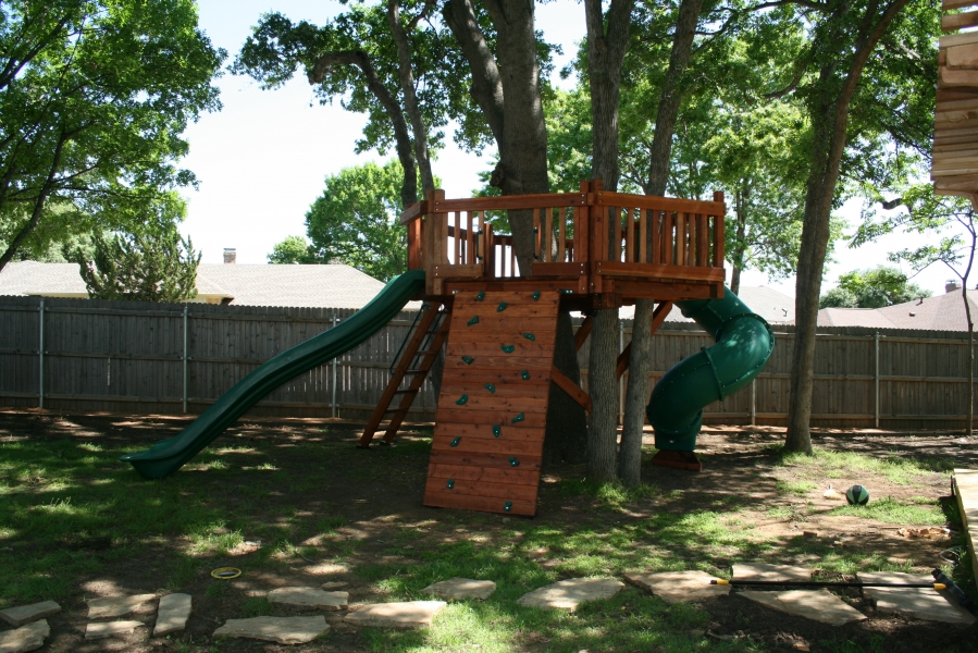 accessories, custom gates, custom tree deck, deck ladder, rave slide, rock wall, tree deck, twister slide