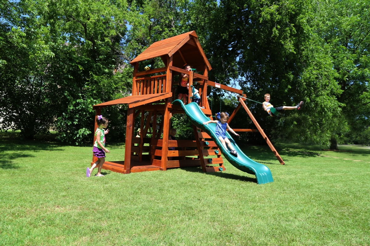 belt swings, corral, ladder, lemonade, lower porch, playset, porch, slide, swing set, trapeze bar, wrangler, paly, outdoor playset