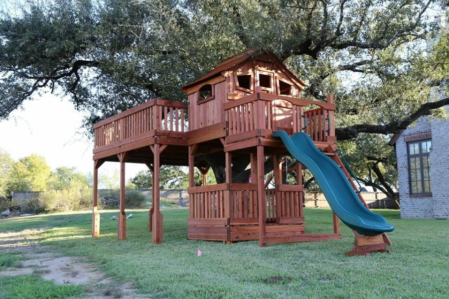 kids tree houses with slides. Custom, Tree Deck, Fort Stockton, Playset, Wooden Cabin, Swing Kids Houses With Slides