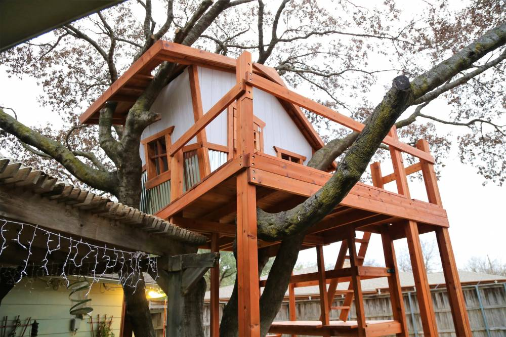 redwood deck, roof cut out around tree limbs, kids treehouse