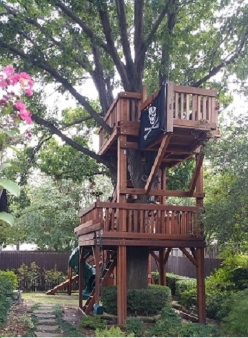 binoculars, bridged, half shack, fort stockton, pirates flag, ramp, ships wheel, trapeze bar, tree decks, twister slide, upper cabin, outdoor playset