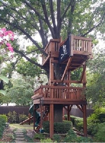 binoculars, bridged, half shack, fort stockton, pirates flag, ramp, ships wheel, trapeze bar, tree decks, twister slide, upper cabin, outdoor playset