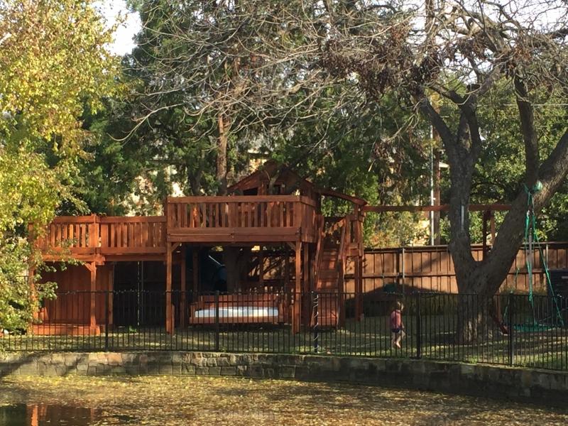 binoculars, bridge, cabin, chalkboards, fort stockton, playset, ships wheel, outdoor stage, swing set, tree deck, wooden playset