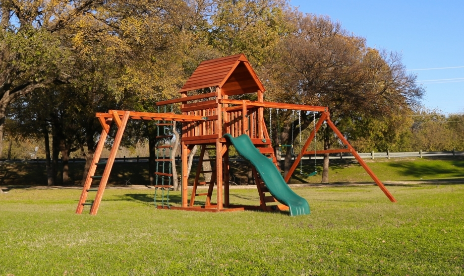 belt swings, ladder, overhead climber, playset, rock wall, slide, swing set, trapeze bar, wood roof, wrangler, play options, outdoor playset, child