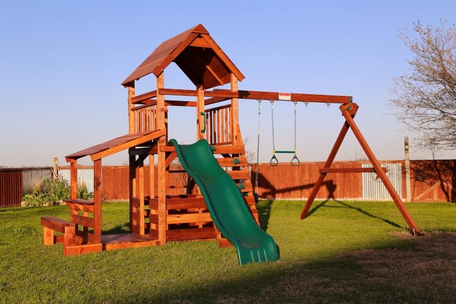 belt swings, corral, ladder, lemonade, lower porch, playset, porch, slide, swing set, trapeze bar, wrangler, outdoor playset, backyard