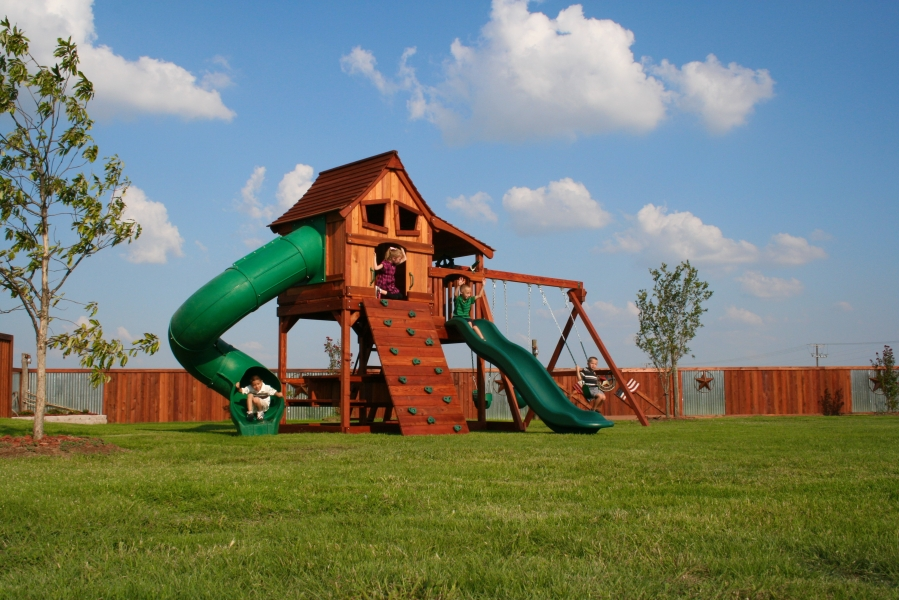 Maverick, Twister Slide, Cabin, Rock Wall, Wooden Swing Set, Swing Set