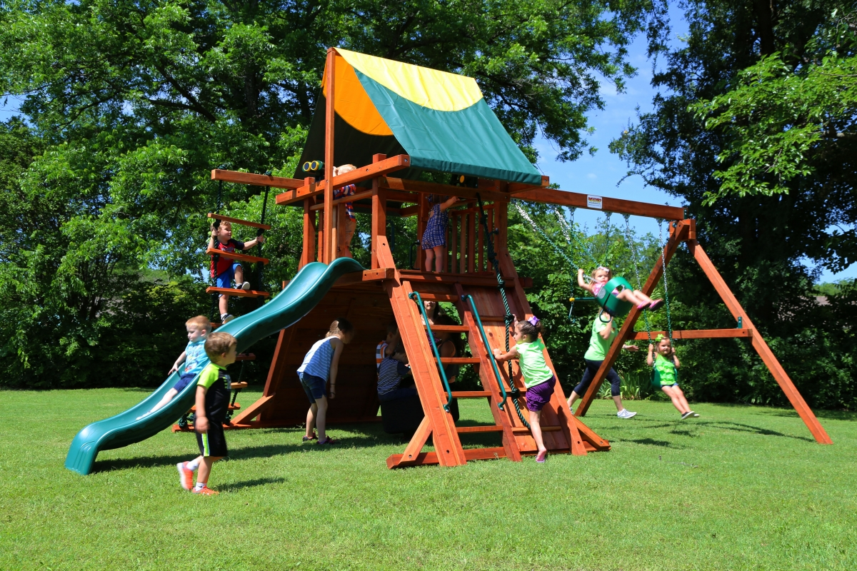 belt swings, ladder, playset, repel wall, rock wall, rustler, slide, swing set, tarp roof, tire swing, trapeze bar, outdoor playset