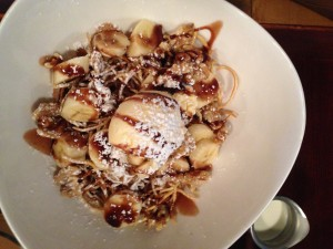 Alor Fried Spaghetti with banana caramelized walnuts and chocolate sauce