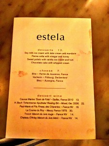 Estela Dessert Menu