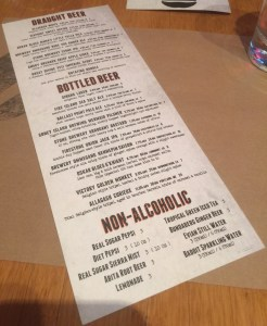 Umami Burger Beer Menu